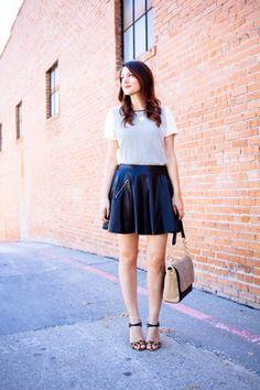 5 Ways To Wear A Leather Skirt  via  theglitterguide.com