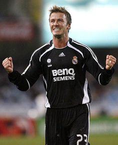 David Beckham en su última temporada con el Real Madrid