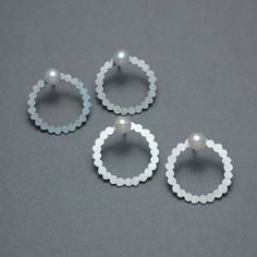 Shadow earrings with pearls | Contemporary Earrings by contemporary jewellery designer Misun Won