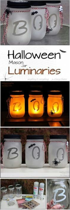 Many people like mason jars because they are easy to find and cheap. Halloween is coming. You can make many wonderful Halloween crafts from mason jars. You can give them to your friends as great gifts, or you can use them as perfect seasonal decorat Dulceros Halloween, Halloween Geist, Halloween Mason Jars, Halloween Projects, Holidays Halloween, Halloween Pictures, Fall Crafts, Holiday Crafts, Holiday Fun