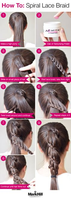 An amazing update on an average pony: the spiral lace braid. Follow these  steps to get the glam look! Pretty Braids, Cool Braids, Beauty Tips For Hair, Beauty Hacks, Hair Beauty, Hairdos, Braided Hairstyles, Game Day Hair, Spiral Braid