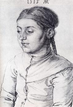 """renaissance-art-blog: """" Portrait Of A Girl, 1515, Albrecht Durer Medium: charcoal, paper"""""""