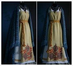 by Savelyeva Ekaterina~ Lovely gold, yellow, blue, red, white, and purple combination. Viking Garb, Viking Dress, Viking Costume, Medieval Costume, Medieval Dress, Medieval Fashion, Celtic Clothing, Medieval Clothing, Historical Clothing