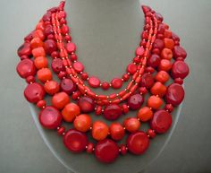 Salsa  One of a Kind  Red and Salmon Coral Multi by BouvierJewelry, $386.00