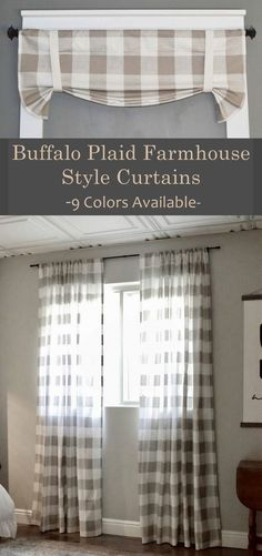 I love these Curtains. They'd be gorgeous in any room to add a Farmhouse or primitive touch! Buffalo Plaid Farmhouse Style Curtains - 9 Colors Available. Can Custom order your size. #buffalocheck #curtains #farmhouse #farmhousestyle #valance #curtains #afflink
