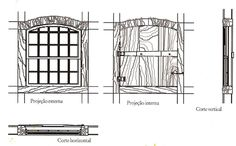 Janela da casa térrea colonial, no lado externo a janela guilhotina; no lado interno a janela escura de madeira.