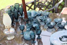 Tiara Bicentennial Blue Sandwich glassware- Depression Glass Addiction gift from Bert for our 31st wedding anniversay.