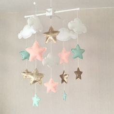 This mobile is READY TO SHIP Clouds and stars baby crib mobile. An ideal gift for a new babys nursery or for room decor in an older childs bedroom.