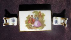 Adorable, Vintage, Limoges France Miniature Porcelain Table & 2 Chairs Furniture