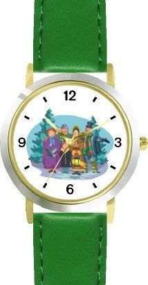 Christmas Carollers Christmas Theme - WATCHBUDDY® DELUXE TWO-TONE THEME WATCH - Arabic Numbers - Green Leather Strap-Children's Size-Small ( Boy's Size & Girl's Size ) WatchBuddy. $49.95. Save 38% Off!