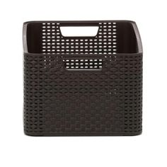 Curver Style 8-Gal. Rattan Storage Tote in Espresso-217211 - The Home Depot