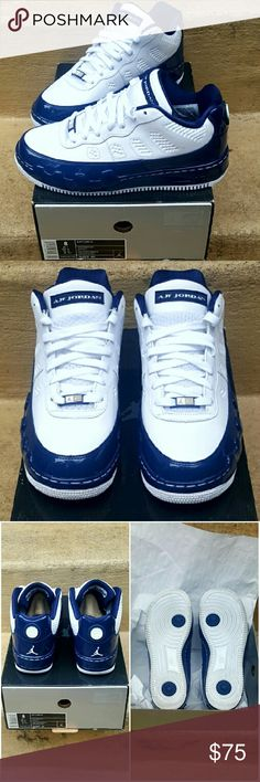 Nike AJF 9 Low This hybrid of two of Nike's most popular models, AF1 and Jordan 9. Leather and patent leather shoes in white and navy blue. Worn once...no creases, dirt etc. OG box and paper. Nike Shoes Sneakers