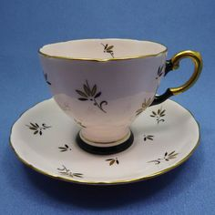 Rare Pink and Black Tea Cup and Saucer TUSCAN Tea by Thinkilikeit