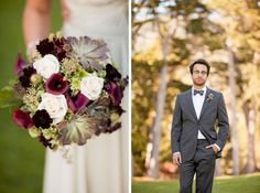Stunning purple and green bouquet.. Succulents, eggplant calla lillies, vendela roses.