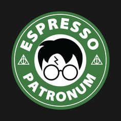 Shop Espresso Patronum harry potter t-shirts designed by musikreb as well as other harry potter merchandise at TeePublic. Harry Potter Pictures, Harry Potter Facts, Harry Potter Quotes, Harry Potter Diy, Harry Potter T Shirts, Harry Potter Symbols, Disney Starbucks, Starbucks Logo, Harry Potter Stickers