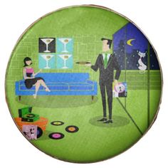 Retro Urban Cartoon Couple Dipped Oreos--#Oreo #partyfavors #retro #midcenturymodern #cookies #martinis #vinylrecords #1960s #Zazzle