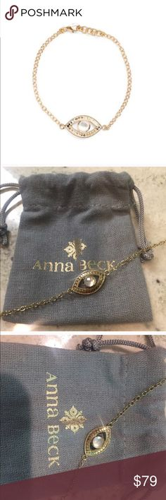 Anna Beck evil eye bracelet Perfect condition.  18k gold plated sterling silver. 7inches. Anna Beck Jewelry Bracelets