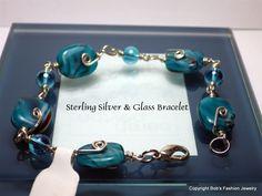 Sterling Silver & Glass Bead Bracelet by BobsFashionJewelry on Etsy