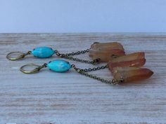 Bohemian Goddess Statement Earrings - Festival Bohemian Earrings - Peach Quartz - Turquoise Howlite - Handmade
