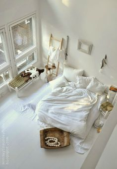 all white bedroom... not gonna happen with dogs. #dreams