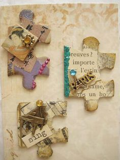 Create your own Altered Puzzle Pieces. Puzzle Piece Crafts, Puzzle Art, Puzzle Pieces, Paper Art, Paper Crafts, Diy Crafts, Puzzle Jewelry, Candy Cards, Scrapbook Embellishments