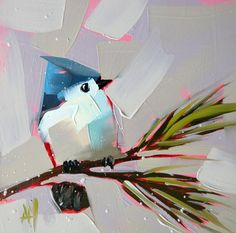 Tufted Titmouse no. 17 original bird oil painting by Moulton 6 x 6 inches on panel  prattcreekart