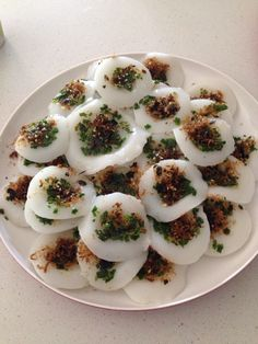 Home made Vegetarian Banh Beo. A Vietnamese dish!