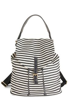 Keep Chic and Carry-on Backpack - Black, White, Stripes, Scholastic/Collegiate