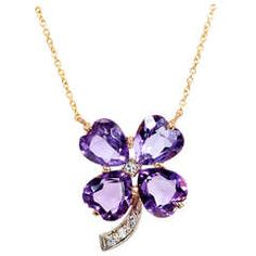 Amethyst Diamond Four Leaf Clover Pendant. 1950 to 1960 handmade 4 leaf clover Amethyst pendant. Chain attaches to the top of the Amethyst. Excellent condition, no repairs or defects. White gold under diamonds. Purple Jewelry, Amethyst Jewelry, Amethyst Pendant, Diamond Pendant, Gold Jewelry, Jewelry Accessories, Vintage Jewelry, Jewellery, Gold Pendant