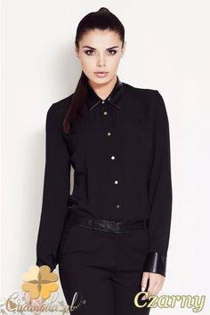 Dopasowania, elegancka koszula damska z kołnierzykiem z eko-skóry marki Awama.  #cudmoda #moda #styl #odzież #ubrania #koszule #dla_kobiet