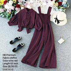 Jumpsuits HB PREMIUM Spaghetti Strap Strechable Two piece Wide leg jumpsuit with stand up collar shirt with tie up pattern-Free size(28/30/32)- wine red Fabric: Chiffon Sleeve Length: Long Sleeves Pattern: Solid Multipack: 2 Sizes:  Free Size (Bust Size: 30 in Length Size: 53 in Waist Size: 30 in) Country of Origin: India Sizes Available: Free Size   Catalog Rating: ★4 (534)  Catalog Name: Classy Fashionista Women Jumpsuits CatalogID_1616443 C79-SC1030 Code: 848-9271344-9941