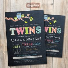Chalkboard Twins Baby Shower Invitation. OWLS. DIY card. Digital Printable card
