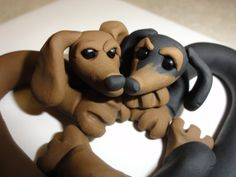 Polymer Clay Dachshund Love by zoobekkacreations on Etsy, $15.00