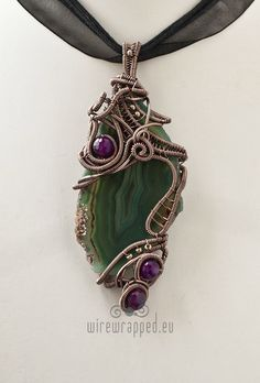OOAK Green and purple agate wire wrapped pendant