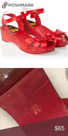 Papillon red flat Swedish hasbeens. SZ 39 Practically new! So incredibly cute! No flaws, awesomely great red color. I would keep these for myself and wear them to death, but sadly they are too big. I wear a a solid 38,  this 39 shoe is too big. Swedish Hasbeens Shoes Sandals