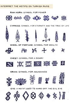 """turkish-rug-symbols most of them originated ancient Turk(ic) """"tamga""""s which have hidden and deep meanings from ancient history of Turks Textiles, Tapis Design, 1 Tattoo, Thinking Day, Persian Carpet, Persian Rug, Carpet Runner, Graphic, Pattern Design"""