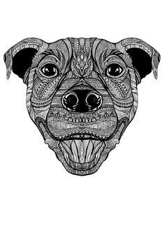 Staffy by Maria Holm - drawing amstaf tattoo mandala inspired art