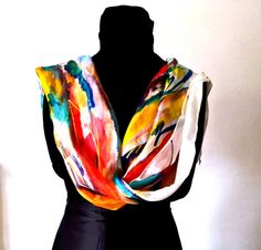 Silk Scarf hand paint multicolor woman gift Pure silk by InSetArte