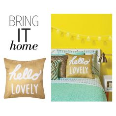 """""""Bring It Home: Xhilaration Hello Lovely Decorative Pillow"""" by polyvore-editorial ❤ liked on Polyvore featuring interior, interiors, interior design, home, home decor, interior decorating, Xhilaration and bringithome"""