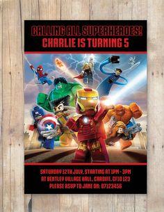 Lego Avengers Birthday Party Invitation by FlurgDesigns on Etsy, £5.00