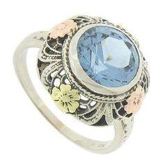 Antique 14K White Gold Blue Zircon Engagement Ring. c1920. $800 on GoAntiques