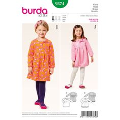 Girl's dresses made in a jersey or sweatshirt material are especially comfortable and cuddly. The pleats give the skirt a delightful fullness, and a small knot of fabric or a bow at the neckline makes a decorative detail. A Burda Style sewing pattern.