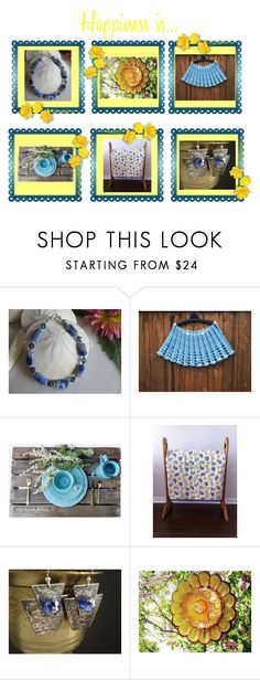 """Happiness is..."" by cozeequilts ❤ liked on Polyvore featuring Rustico and rustic"