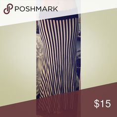 Vertically striped black & white maxi skirt Super cute black & white vertically striped maxi skirt with black fold down waist. Hot item - sold out at Love Culture. No size tag - elastic / stretchy material. Could fit sizes small or medium. Love Culture Skirts Maxi