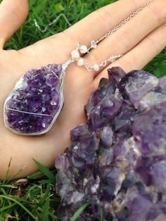 Gorgeous Amethyst Cluster Boho Necklace - Wire Wrapped raw Amethyst cluster w/ Moonstone & Herkimer Diamonds - Sterling Silver chain - OOAK