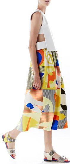 Novis   The Carmine Tea Length Gathered Skirt