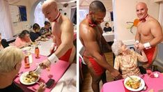 """""""Butlers In The Buff"""" Served Dinner To Seniors At Care Facility And Their Reactions Are Too Good Vicks Vaporub, Butler, Plastic Wrap, Shrink Wrap"""