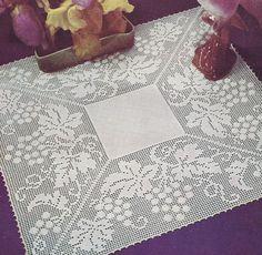 Vintage Crochet Pattern Grape Leaves Filet Doily Motif GrapeGardenFilet