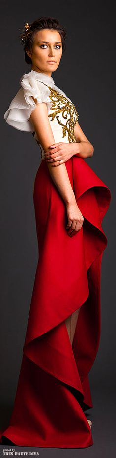 not a bad combo of red and white? hi-low skirt and flowy - Krikor Jabotian Couture 2014