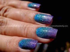 Enamels Kelly: Gradient Nail holographic + Konad M60